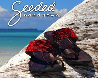 Ombre Beaded Leather Sandals, handmade in Tanzania - Second Quality