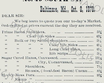 Vintage Advertising Price List Baltimore Meat Market Bacon Pork Lard Image 300 dpi jpg Digital Download Printable Clip Art 19th Century