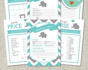 Elephant Baby Shower Games, Elephant Games, Elephant, Teal, Gray, Chevron (Matches Chalkboard, Balloon)   Printable