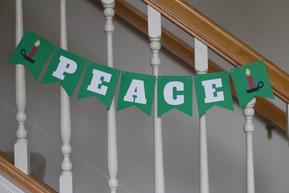 PEACE banner, holiday banner, Christmas banner