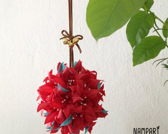 Red Origami Flower Ornament. Translucent Origami Flower. Origami Christmas Ornament. Home Decoration.