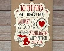 Anniversary Gift, 10 Year Anniversary, 5 Year Anniversary, 1 Year Anniversary, Custom Print, Gift for Husband, Wedding Anniversary, Michigan