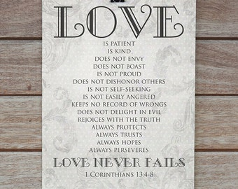 1 Corinthians 13 4 8 Art Print Love Is Patient Love
