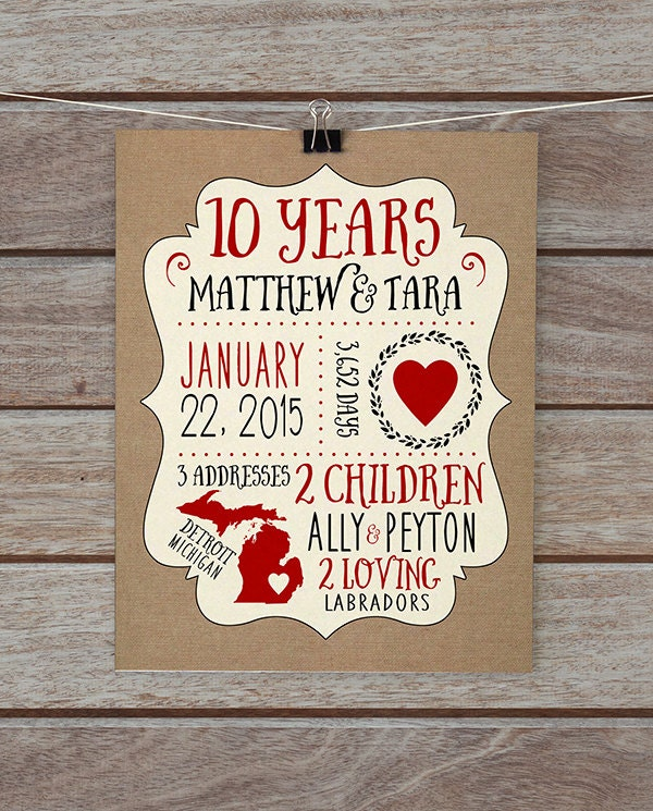 Wedding Anniversary Gifts For Husband One Year : Anniversary Gift 10 Year Anniversary 5 Year Anniversary 1