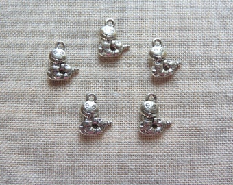 Bookworm Charms x 5.  Antique Silver Tone.  UK Seller