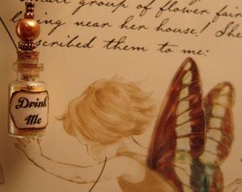 Drink Me Necklace, Alice in Wonderland Drink Me Necklace, Yellow Drink Me Glass Vial Necklace