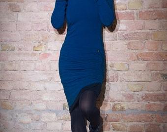 Hoodie Dress Buthan Blue-Black / Hooded dress