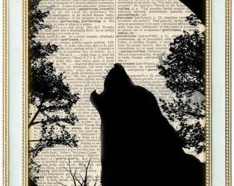 Wolf howling at the moon dictionary art, print on upcycled dictionary page 8x10