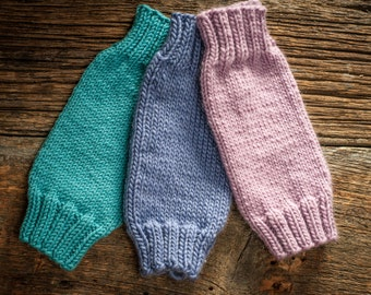 Knit baby leg warmers - purple, pink or blue