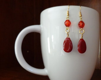 Red Plastic Bead Gold Metal Dangle Earrings
