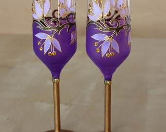 Champagne Flutes, Purple Wine Glasses, Wedding Glasses, Anniversary Gift, Wedding Flutes,Gold and Purple