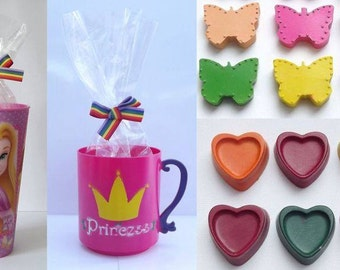 Princess tumbler or cup with handmade hearts and butterfly crayons