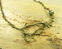 Necklace Gnarled Branch, Branch Necklace, Necklace Chain Brass Bronze, Limb Tree Forest Nature, Glass Bead Green, Vintage Style Handmade