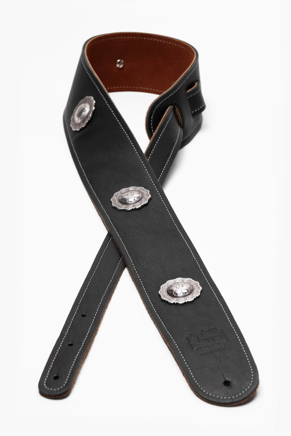 2 5 4 Concho Boot Leather Guitar Strap