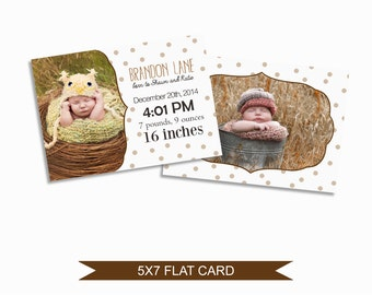 Birth Announcement Card Template - 5x7 Digital Photography Photoshop File - Template for Photographers - NC08 - INSTANT DOWNLOAD
