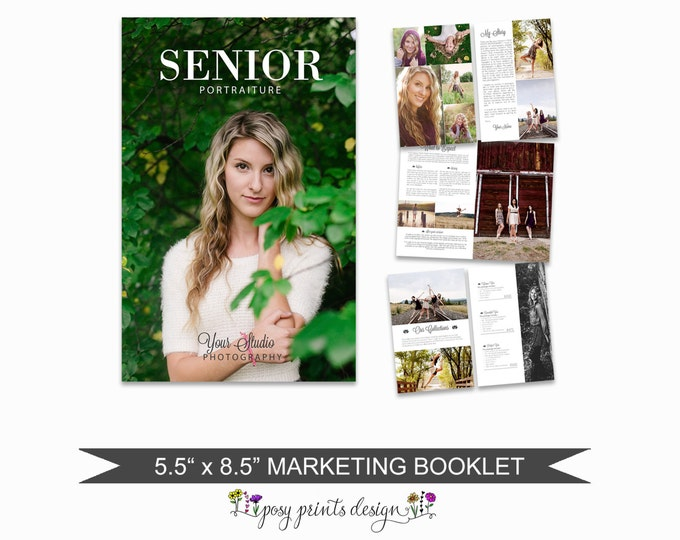 Senior Magazine Template for Photographers - 8 Page Studio Welcome Guide - PSD Files - Digital Price List - Pricing Templates -SM01