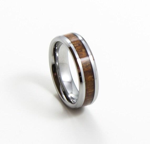 koa wood thin s wedding band 6mm by alphatungsten