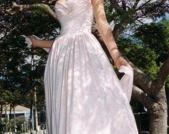 Pale Pink Silk Strapless Bridal Evening Dress, in raw natural silk tweed