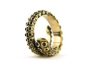 Octopus Tentacle Ring Golden Color Adjustable Ring Wrap Ring Boho Steampunk Jewelry - FRI005YB