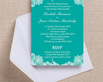 Teal/Jade and White Vintage Lace Wedding Invitation & RSVP with envelopes
