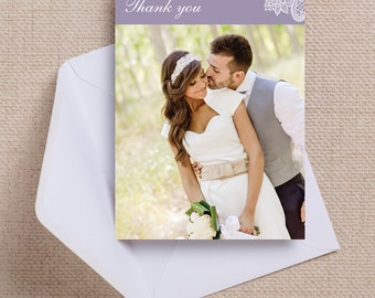 Lavender/Lilac and White Vintage Lace Wedding Thank You Photo Note Card