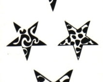 5 Pointed Star Pentagram Temporary Fake Tattoo Bold Body Art Transfer Waterpoof Fancy Dress