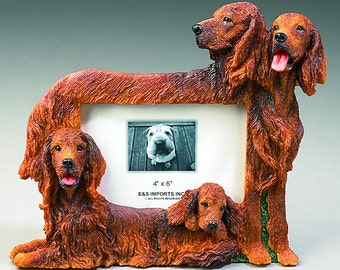 Irish Setter Family Photo Frame - Unique Design, Hand Painted.  Makes a Perfect Pet Gift for Setter Lovers.