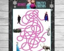 Frozen Rope Maze Chalkboard // Printable Frozen Party Game // Frozen Maze // Frozen Activity Sheet