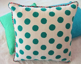 Reversible linen and green spot piped cushion cover 45x45cm