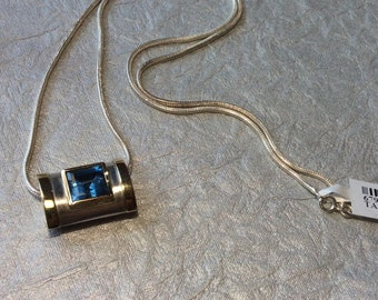 Rectangle Shaped Blue Topaz Two-Tone Sterling Silver Necklace