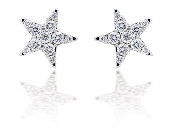 Illusion Set Diamond Star Earrings in 18k White Gold (0.35ct. tw.)