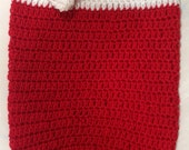 Christmas Newborn Baby Cocoon with Matching Santa Hat - Red Crochet