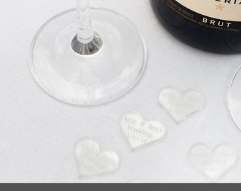 Personalised 25mm Clear Acrylic Heart Wedding Table Decorations, Vintage Favours.