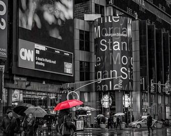 Red Umbrella Rainy Day New York City Times Square Fine-Art Photograph