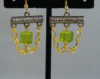 Green Cubed Crystal and Gold Chain Earrings