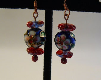 Cloisonné Flower Earrings