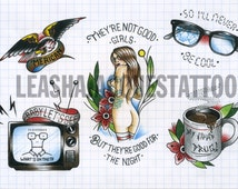 Punk inspired 29cm x 21cm traditional tattoo flash print by Leasha Jacques. Limited to 20 prints.