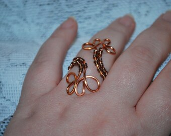 Copper wire wrapped flower ring