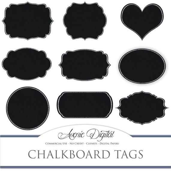 Digital Chalkboard tags. Scrapbooking printables, blackboard frames ...