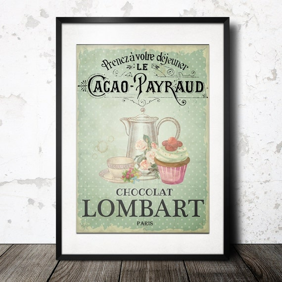 Items similar to french vintage pastry wall art tea for French kitchen artwork