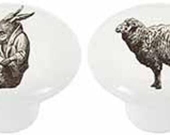 Ceramic Cabinet Knobs or Drawer Pulls Old World Farm Animals
