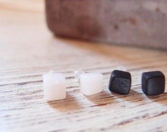 Small cubes earrings-men's ears-men's cube earrings-unisex stud earrings-Men's jewelry-gift for boyfriend