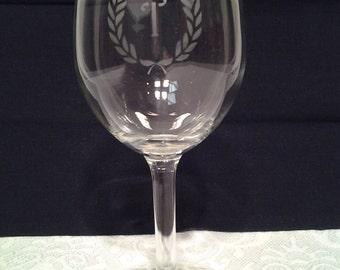 Hand-Etched Monogrammed Wine Glasses, Set of 4