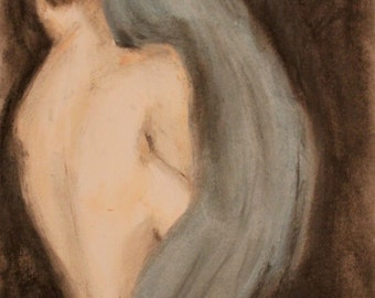 The Curtain, Charcoal Drawing (Giclee Print)