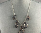 Statement Necklace Brown Blister Pearl Drop Sterling Silver