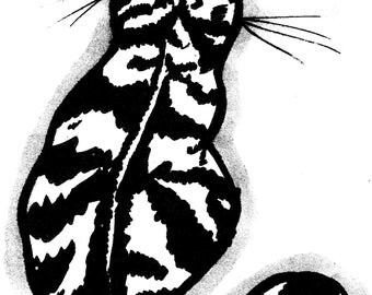 sitting black and white clip art cat