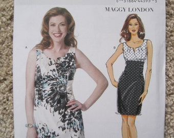 UNCUT Misses Dress by Maggy London - Size 14, 16, 18, 20, 22 - Butterick Sewing Pattern B5752