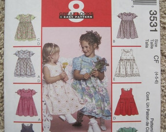 UNCUT Toddlers and Childrens Dresses and Pinafores - McCalls Pattern 3531