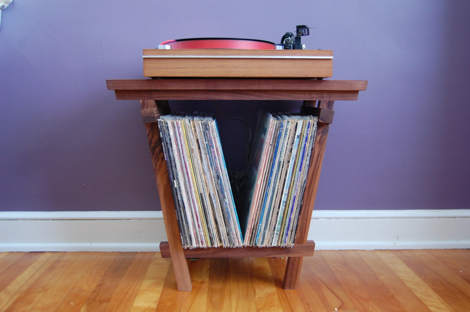 Beautiful Solid Walnut Record Player Table And Lp Holder For