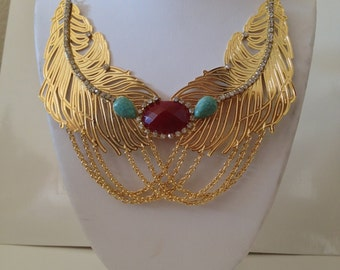 Gold Leafed Statement Necklace